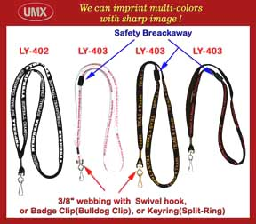 3/8 inch LY-402 custom logo lanyard and safety break-away neck lanyards LY-403